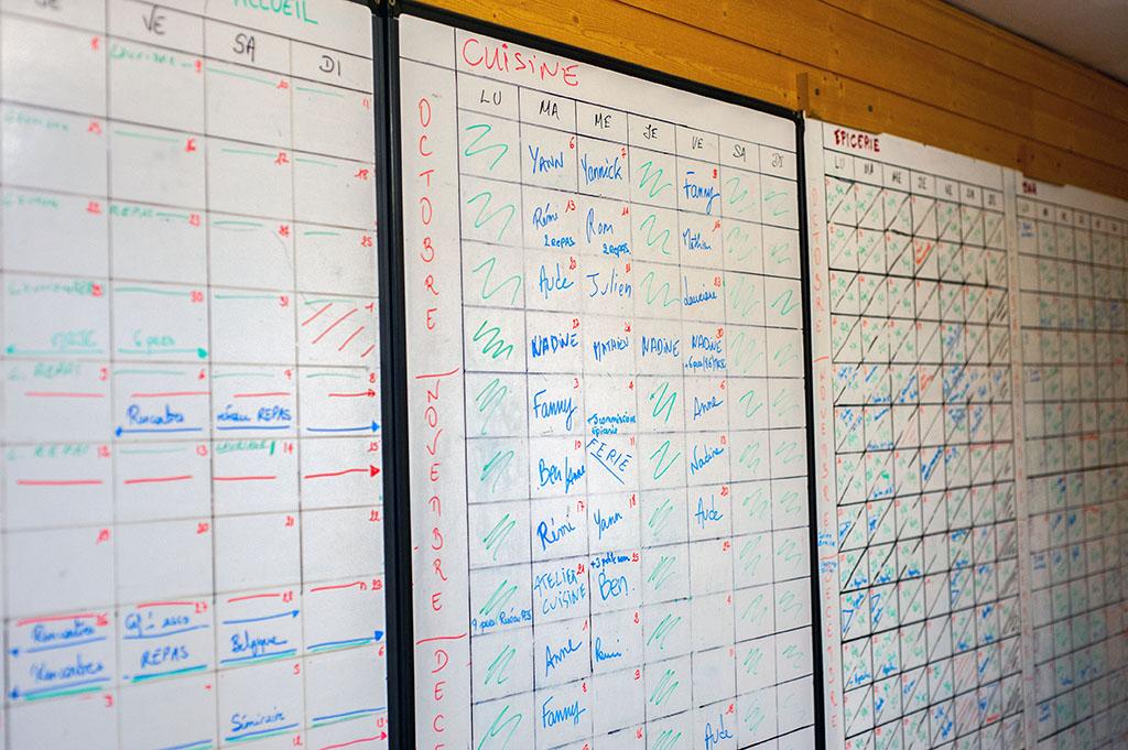 """Un tableau d'organisation du collectif car outre l'épicerie et le bar, la coopérative regroupe des activités de micro-brasserie """"L'Auganaise"""", mais également une radio associative """"Timbre FM"""" et d'autres associations d'éducation populaire."""