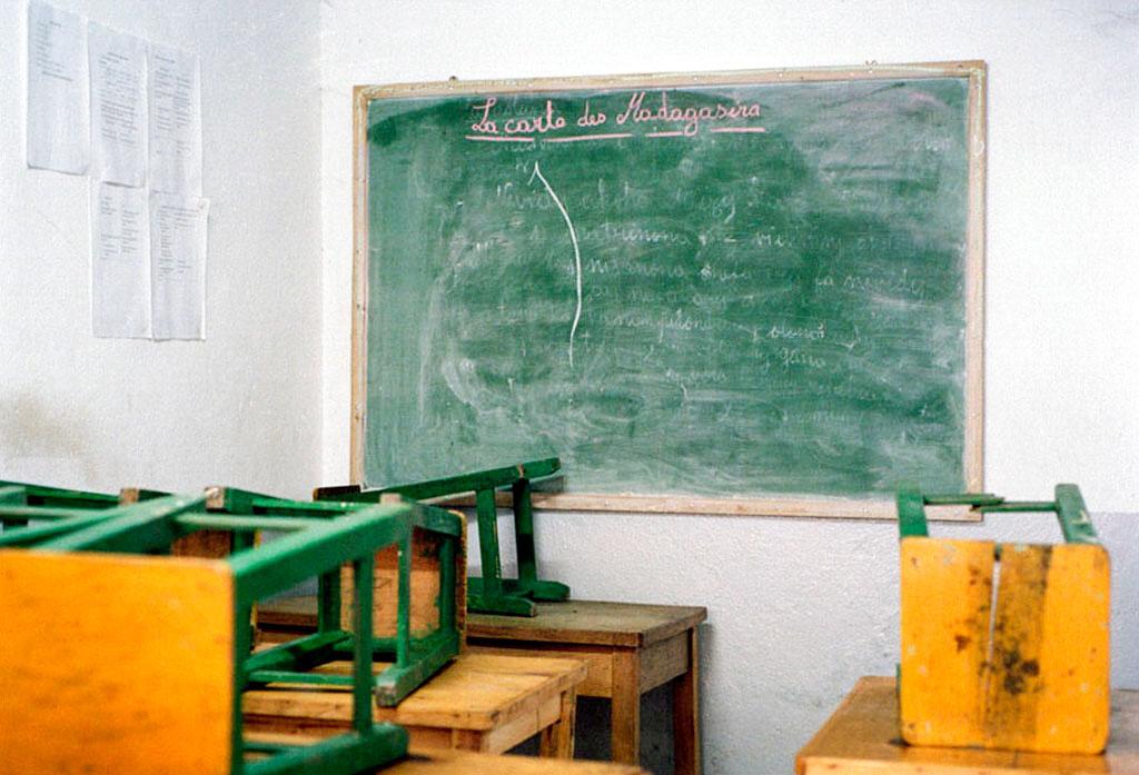 La salle de cours de GDM. L'association dispense des cours de base afin de s'assurer que chaque jeune fille a une minimum de connaissance.